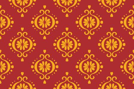 Ikat geometric folklore ornament. Oriental vector damask pattern. Ancient art of Arabesque. Tribal ethnic texture. Spanish motif on the carpet
