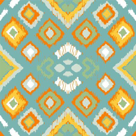Adorno folclórico geométrico Ikat con diamantes. Textura de vector étnico tribal. Patrón de rayas sin costuras en estilo azteca. Bordado popular. Alfombra india, escandinava, gitana, mexicana, africana. Ilustración de vector