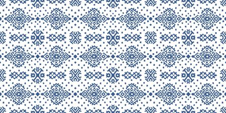 Ikat geometric folklore ornament. Oriental vector damask pattern. Ancient art of Arabesque. Tribal ethnic texture. Spanish motif on the carpet. Aztec style. Indian rug. Gypsy, Mexican embroidery. Illustration