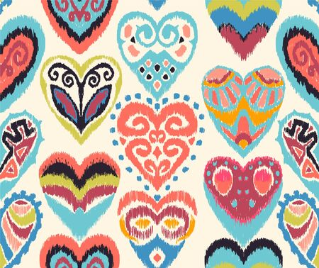 Valentines day. Seamless pattern with hearts. Ikat geometric folklore ornament. Oriental vector damask print. Ancient art of Arabesque. Tribal ethnic texture. Spanish motif on the carpet. Illustration