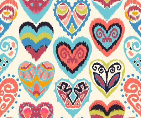 Valentines day. Seamless pattern with hearts. Ikat geometric folklore ornament. Oriental vector damask print. Ancient art of Arabesque. Tribal ethnic texture. Spanish motif on the carpet. Stock Illustratie