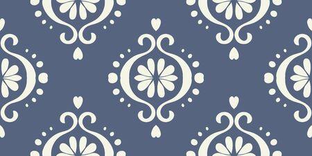 Ikat geometric folklore ornament. Oriental vector damask pattern. Ancient art of Arabesque. Tribal ethnic texture. Spanish motif on the carpet.