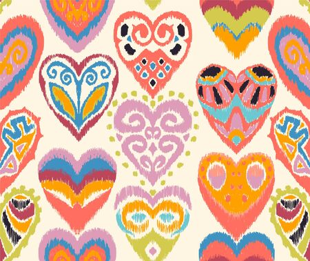 Valentines day. Seamless pattern with hearts. Ikat geometric folklore ornament. Oriental vector damask print. Ancient art of Arabesque. Tribal ethnic texture. Spanish motif on the carpet. Иллюстрация
