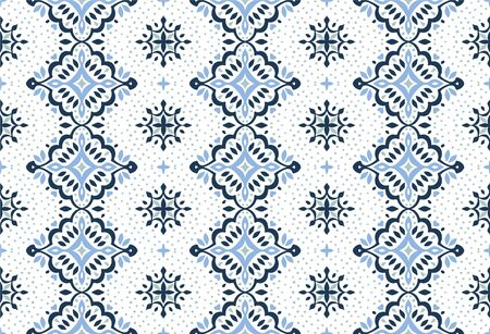 Oriental vector damask pattern. Talavera pottery. Azulejos portugal. Turkish ornament. Spanish porcelain. Ceramic tableware, folk print. Ethnic background. Mediterranean wallpaper.  Talavera pottery. Иллюстрация