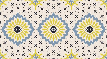 Talavera pattern. Azulejos portugal. Turkish ornament. Moroccan tile mosaic. Spanish porcelain. Ceramic tableware, folk print. Asian pottery. Ethnic background. Mediterranean wallpaper. Art Deco. Иллюстрация