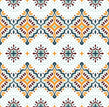 Oriental vector damask pattern. Talavera pottery. Azulejos portugal. Turkish ornament. Spanish porcelain. Ceramic tableware, folk print. Ethnic background. Mediterranean wallpaper.  Talavera pottery. Banque d'images - 131671620