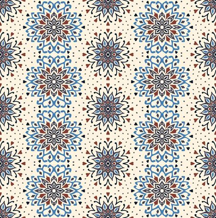 Seamless floral pattern. Stylized doodle flowers. Spanish ethnic embroidery. Folk ornament. Solar sign. Mediterranean print. Indian Oriental or Turkish textiles. Boho wallpaper. Hipster art. Banque d'images - 131671618