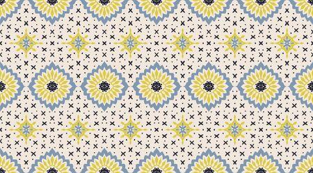 Talavera pattern. Azulejos portugal. Turkish ornament. Moroccan tile mosaic. Spanish porcelain. Ceramic tableware, folk print. Asian pottery. Ethnic background. Mediterranean wallpaper. Art Deco. Banque d'images - 131671736