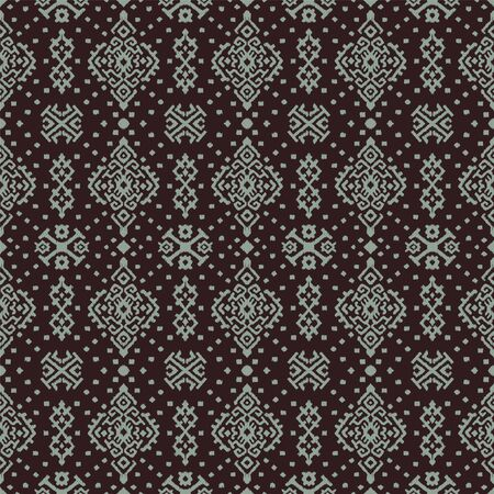 Ikat geometric folklore ornament. Oriental vector damask pattern. Ancient art of Arabesque. Tribal ethnic texture. Spanish motif on the carpet. Aztec style. Indian rug. Gypsy, Mexican embroidery. Vektorové ilustrace