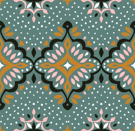 Oriental vector damask pattern. Talavera pottery. Azulejos portugal. Turkish ornament. Spanish porcelain. Ceramic tableware, folk print. Ethnic background. Mediterranean wallpaper.  Talavera pottery. Banque d'images - 131673306