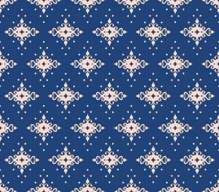 Oriental vector damask pattern. Talavera pottery. Azulejos portugal. Turkish ornament. Spanish porcelain. Ceramic tableware, folk print. Ethnic background. Mediterranean wallpaper.  Talavera pottery. Banque d'images - 131673517