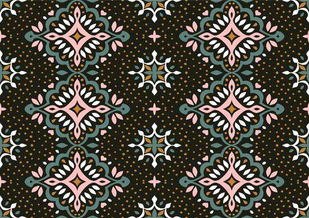 Oriental vector damask pattern. Talavera pottery. Azulejos portugal. Turkish ornament. Spanish porcelain. Ceramic tableware, folk print. Ethnic background. Mediterranean wallpaper.  Talavera pottery. Banque d'images - 131673523