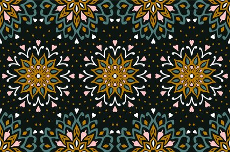 Seamless floral pattern. Stylized doodle flowers. Spanish ethnic embroidery. Folk ornament. Solar sign. Mediterranean print. Indian Oriental or Turkish textiles. Boho wallpaper. Hipster art. Banque d'images - 131673593