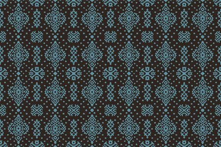 Ikat geometric folklore ornament. Oriental vector damask pattern. Ancient art of Arabesque. Tribal ethnic texture. Spanish motif on the carpet. Aztec style. Indian rug. Gypsy, Mexican embroidery. Çizim