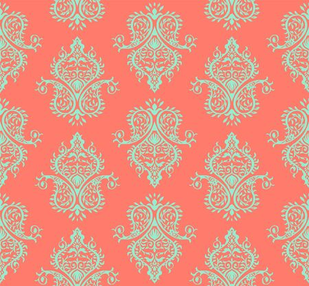 Oriental vector damask pattern. Talavera pottery. Azulejos portugal. Turkish ornament. Spanish porcelain. Ceramic tableware, folk print. Ethnic background. Mediterranean wallpaper.  Talavera pottery. Banque d'images - 131673997