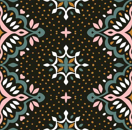 Oriental vector damask pattern. Talavera pottery. Azulejos portugal. Turkish ornament. Spanish porcelain. Ceramic tableware, folk print. Ethnic background. Mediterranean wallpaper.  Talavera pottery. Banque d'images - 131674003
