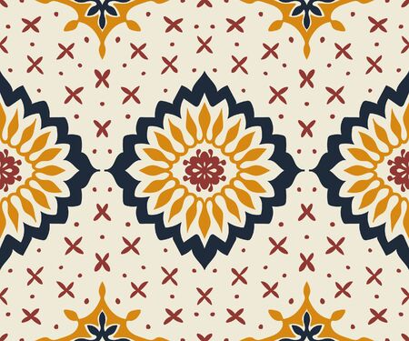 Talavera pattern. Azulejos portugal. Turkish ornament. Moroccan tile mosaic. Spanish porcelain. Ceramic tableware, folk print. Asian pottery. Ethnic background. Mediterranean wallpaper. Art Deco. Banque d'images - 131674211