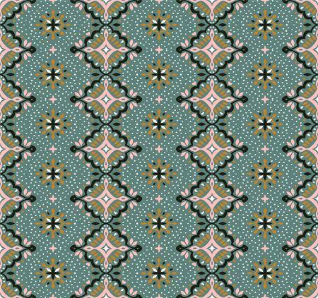 Oriental vector damask pattern. Talavera pottery. Azulejos portugal. Turkish ornament. Spanish porcelain. Ceramic tableware, folk print. Ethnic background. Mediterranean wallpaper.  Talavera pottery. Banque d'images - 131674222