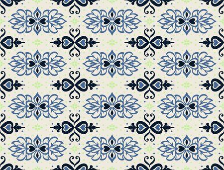 Talavera pattern. Azulejos portugal. Turkish ornament. Moroccan tile mosaic. Spanish porcelain. Ceramic tableware, folk print. Asian pottery. Ethnic background. Mediterranean wallpaper. Art Deco.  イラスト・ベクター素材