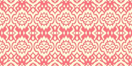 Lace border. Ikat seamless pattern. Vector tie dye shibori print with stripes and chevron.  イラスト・ベクター素材