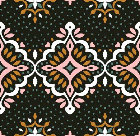 Oriental vector damask pattern. Talavera pottery. Azulejos portugal. Turkish ornament. Spanish porcelain. Ceramic tableware, folk print. Ethnic background. Mediterranean wallpaper.  Talavera pottery.  イラスト・ベクター素材