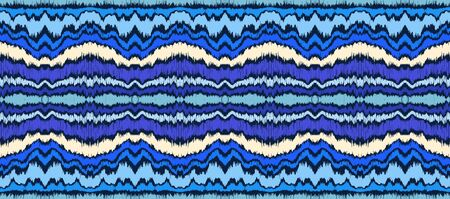 Ikat border. Geometric folk ornament. Ink on clothes. Tribal vector texture. Seamless striped pattern in Aztec style. Ethnic embroidery. Indian, Scandinavian, Gypsy, Mexican, African rug.  イラスト・ベクター素材
