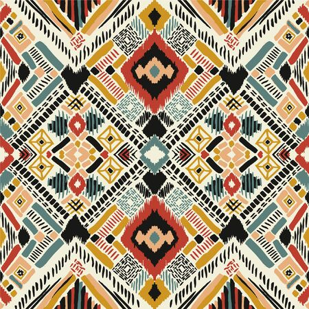 Tribal vector ornament. Seamless African pattern. Ethnic carpet with chevrons. Aztec style. Geometric mosaic on the tile, majolica. Ancient interior. Modern rug. Geo print on textile. Kente Cloth. Vecteurs