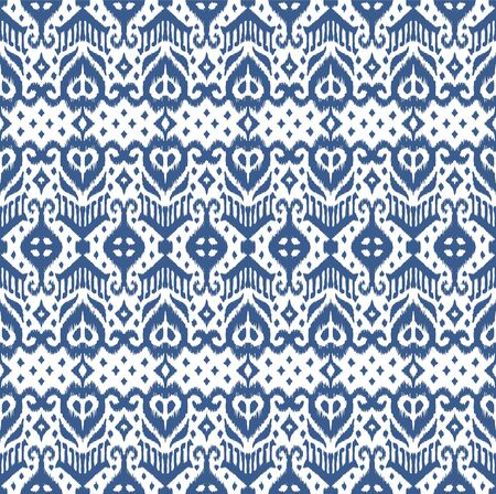 Lace border. Ikat seamless pattern. Vector tie dye shibori print with stripes and chevron. Ink textured japanese background. Ethnic fabric. Bohemian fashion. African creative. Damask rug. 向量圖像