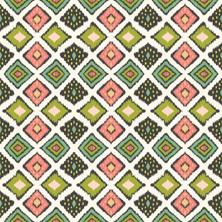 Ikat geometric folklore ornament with diamonds. Tribal ethnic vector texture. Seamless striped pattern in Aztec style. Folk embroidery. Indian, Scandinavian, Gypsy, Mexican, African rug. Stock fotó - 133503436