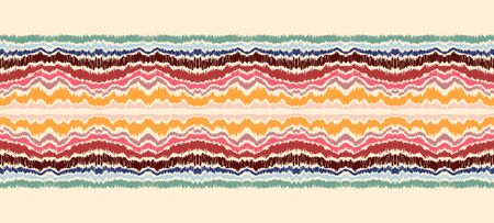 Ikat border. Geometric folk ornament. Ink on clothes. Tribal vector texture. Seamless striped pattern in Aztec style. Ethnic embroidery. Indian, Scandinavian, Gypsy, Mexican, African rug. Illusztráció