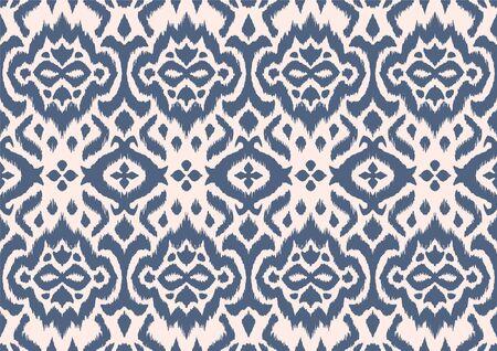Lace border. Ikat seamless pattern. Vector tie dye shibori print with stripes and chevron. Illustration