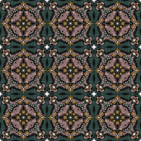 Bandana print. Womens shawl with floral pattern. Mediterranean wallpaper. Stock Illustratie