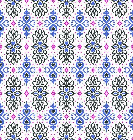 Talavera pattern. Azulejos portugal. Turkish ornament. Moroccan tile mosaic. Spanish porcelain. Ceramic tableware, folk print. Asian pottery. Ethnic background. Mediterranean wallpaper. Art Deco. Stock Illustratie