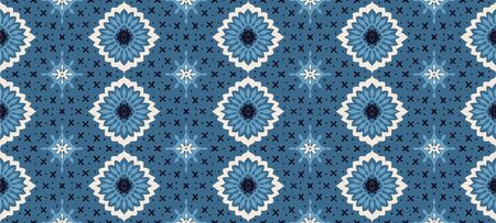 Talavera pattern. Azulejos portugal. Turkish ornament. Moroccan tile mosaic. Spanish porcelain. Ceramic tableware, folk print. Asian pottery. Ethnic background. Mediterranean wallpaper. Art Deco. Illusztráció