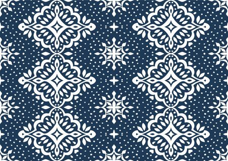 Oriental vector damask pattern. Talavera pottery. Azulejos portugal. Turkish ornament. Spanish porcelain. Ceramic tableware, folk print. Ethnic background. Mediterranean wallpaper.  Talavera pottery. Illusztráció