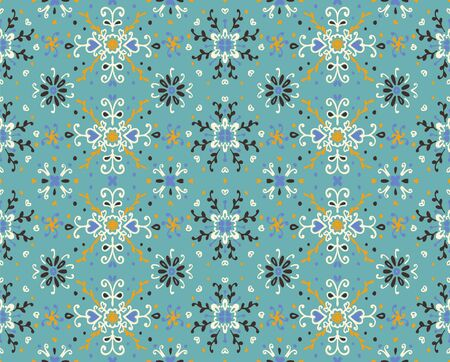 Seamless floral pattern folk colorful flowers and leaves. Flower embroidery. Talavera pattern. Indian patchwork. Turkish ornament. Spanish ethnic background. Mediterranean seamless wallpaper. Stock fotó - 133507781