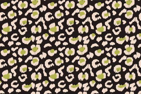 Leopardenfell. Tierdruck. Textur mit Folieneffekt. Ikat geometrische Folklore-Ornament. Vektor nahtlose Muster. Stammes-ethnische Textur.