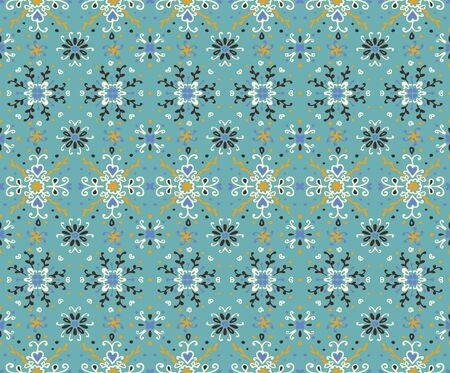 Seamless floral pattern folk colorful flowers and leaves. Flower embroidery. Talavera pattern. Indian patchwork. Turkish ornament. Spanish ethnic background. Mediterranean seamless wallpaper. Standard-Bild - 133678863