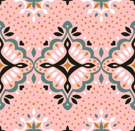Oriental vector damask pattern. Talavera pottery. Azulejos portugal. Turkish ornament. Spanish porcelain. Ceramic tableware, folk print. Ethnic background. Mediterranean wallpaper.  Talavera pottery. Stock Illustratie