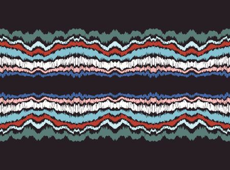 Ikat border. Geometric folk ornament. Ink on clothes. Tribal vector texture. Seamless striped pattern in Aztec style. Ethnic embroidery. Indian, Scandinavian, Gypsy, Mexican, African rug. Çizim