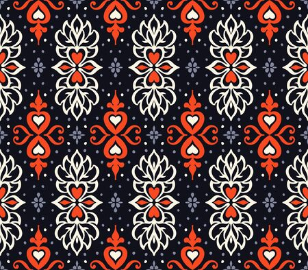 Talavera pattern. Azulejos portugal. Turkish ornament. Moroccan tile mosaic. Spanish porcelain. Ceramic tableware, folk print. Asian pottery. Ethnic background. Mediterranean wallpaper. Art Deco. Stock Illustratie