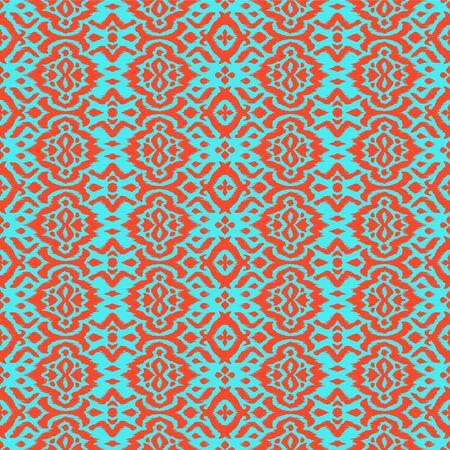 Lace border. Ikat seamless pattern. Vector tie dye shibori print with stripes and chevron. Çizim