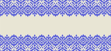 Lace border. Ikat seamless pattern. Vector tie dye shibori print with stripes and chevron. Stock Illustratie