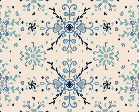 Seamless floral pattern folk colorful flowers and leaves. Flower embroidery. Talavera pattern. Indian patchwork. Turkish ornament. Spanish ethnic background. Mediterranean seamless wallpaper. Standard-Bild - 133679101