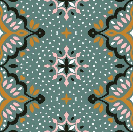 Oriental vector damask pattern. Talavera pottery. Azulejos portugal. Turkish ornament. Spanish porcelain. Ceramic tableware, folk print. Ethnic background. Mediterranean wallpaper.  Talavera pottery. Çizim