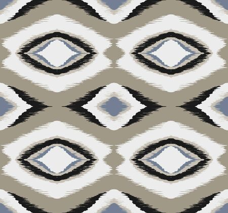 Ikat geometric folklore ornament with diamonds. Tribal ethnic vector texture.