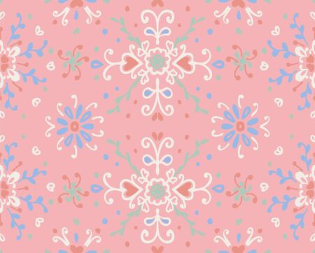 Seamless floral pattern folk colorful flowers and leaves. Flower embroidery. Talavera pattern. Indian patchwork. Turkish ornament. Spanish ethnic background. Mediterranean seamless wallpaper. Standard-Bild - 133679145