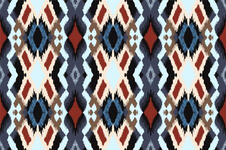 Ikat geometric folklore ornament with diamonds. Tribal ethnic vector texture. Seamless striped pattern in Aztec style. Folk embroidery. Indian, Scandinavian, Gypsy, Mexican, African rug.