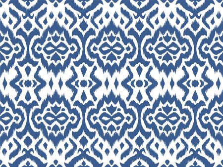 Lace border. Ikat seamless pattern. Vector tie dye shibori print with stripes and chevron. 向量圖像