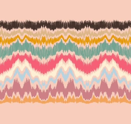 Ikat border. Geometric folk ornament. Ink on clothes. Tribal vector texture. Seamless striped pattern in Aztec style. Ethnic embroidery. Indian, Scandinavian, Gypsy, Mexican, African rug. 向量圖像